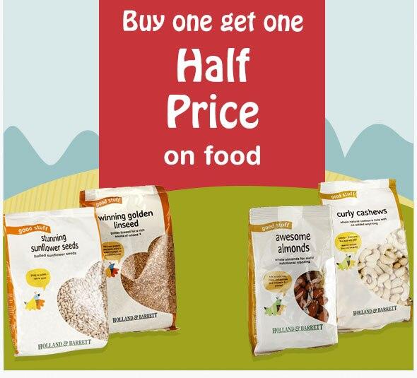 Buy one get one half price on food