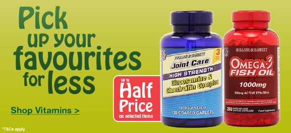 Up to half price on selected Vitamins & Supplements