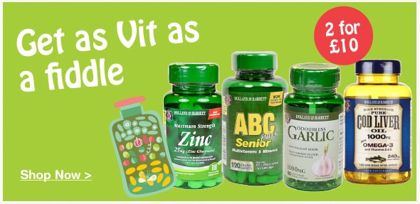 2 for £10 on selected Vitamins & Supplements