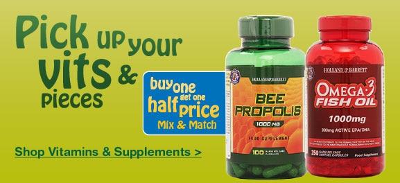 Vitamins & Supplements Buy One Get One Half Price