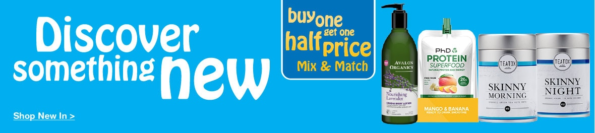 New In Buy One Get One Half Price