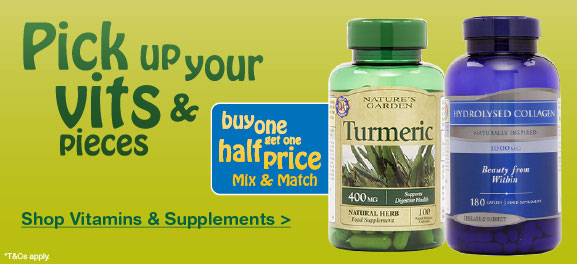 Vitamins & Supplement Buy One Get One Half Price