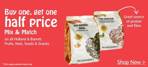buy one get one half price fruits, nuts, seeds & snacks