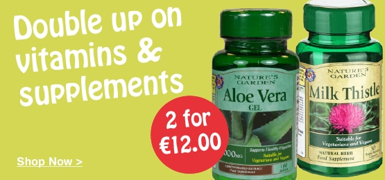 2 for €12 on selected Vitamins & Supplements