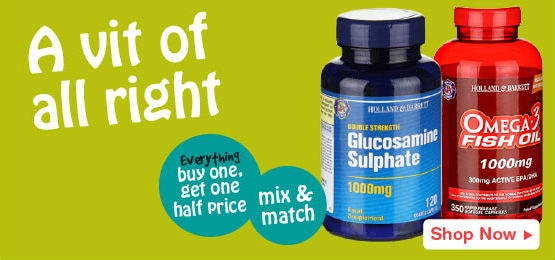 Buy one get one half price on all vitamins and supplements