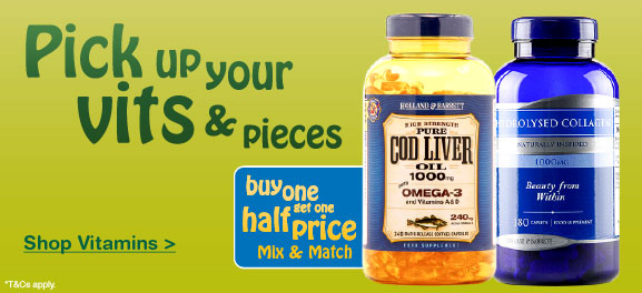 Buy one get one half price on selected Vitamins & Supplements