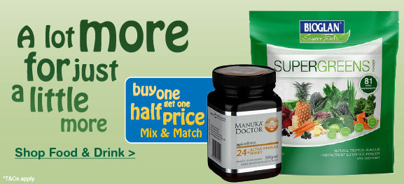 Buy one get one half price on selected Food