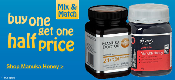 Buy one get one half price on selected Manuka Honey