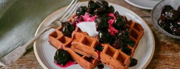 Vegan Black Forest Waffles