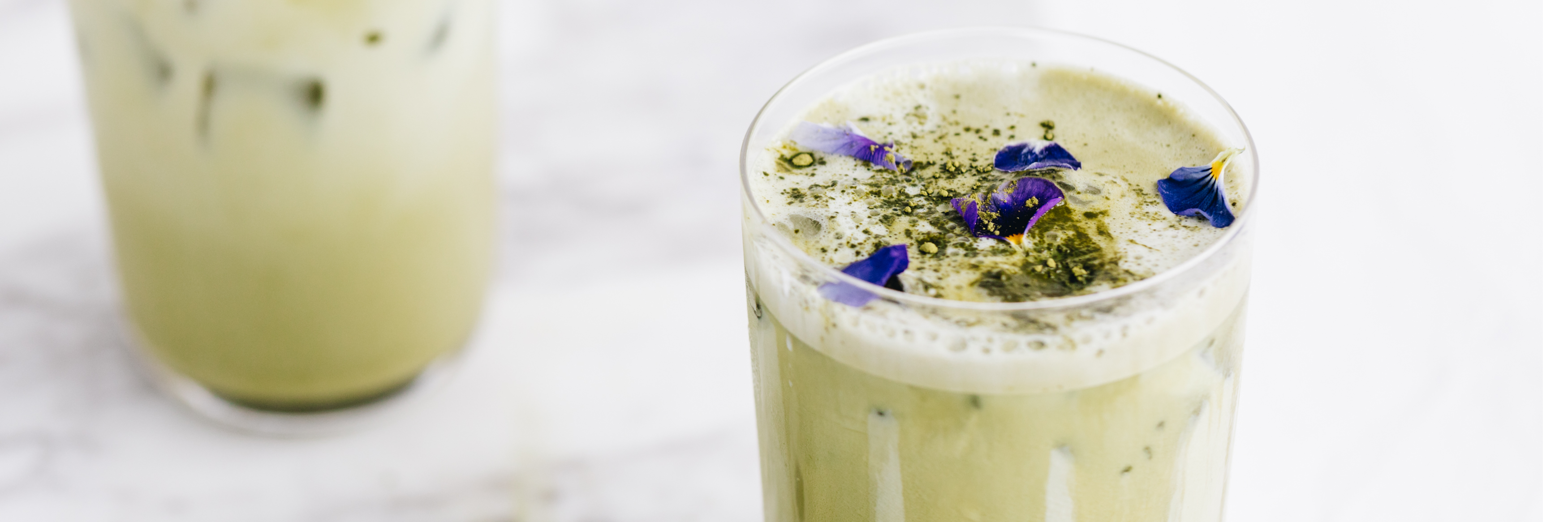 iced matcha latte in glass
