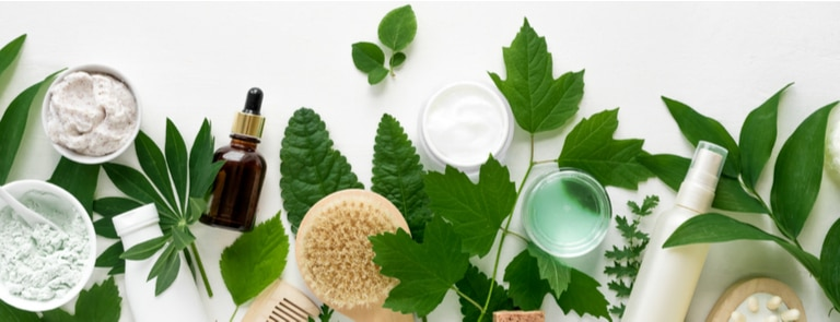 selection of natural beauty products with leaves