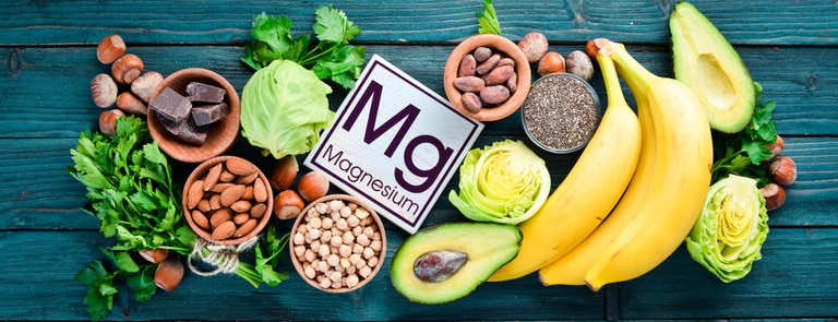 food sources of magnesium lined up on table