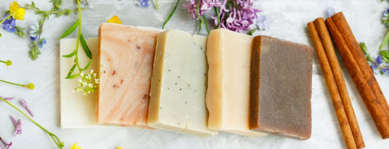 colourful selection of handmade shampoo bars
