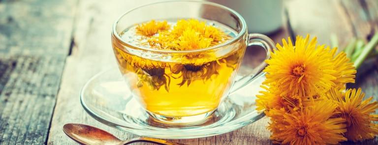 dandelion tea with fresh flower petals