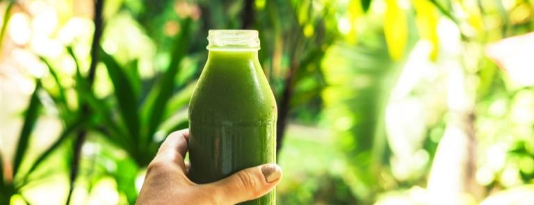 green fresh juice in bottle