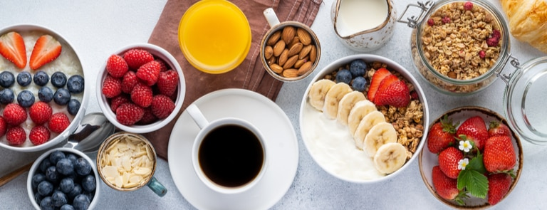 an array of low calorie breakfasts