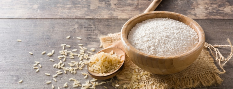 rice flour in a wooden bowl