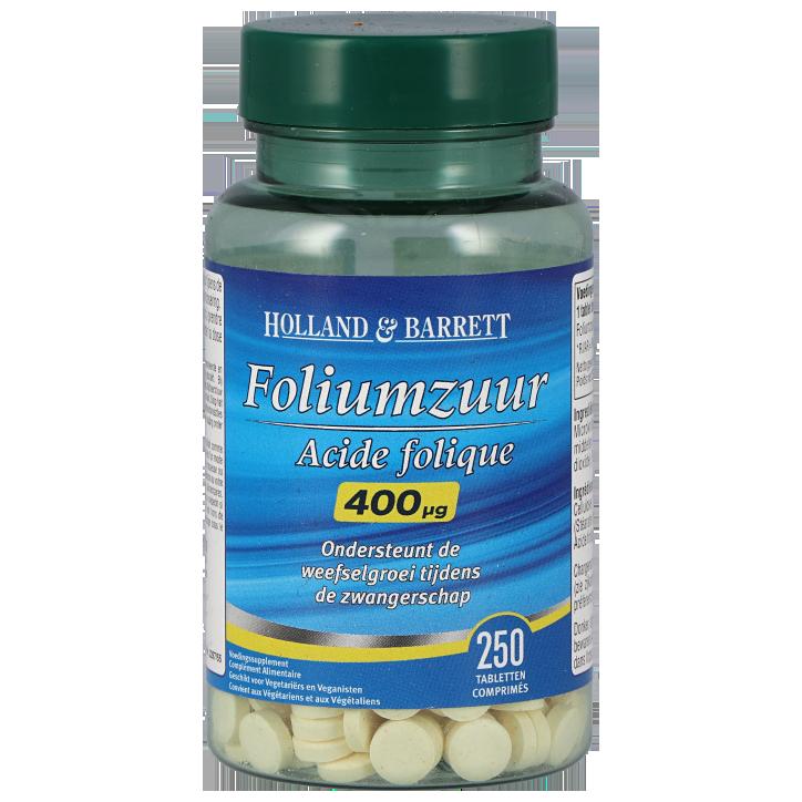 Holland & Barrett Foliumzuur, 400mcg (250 Tabletten)