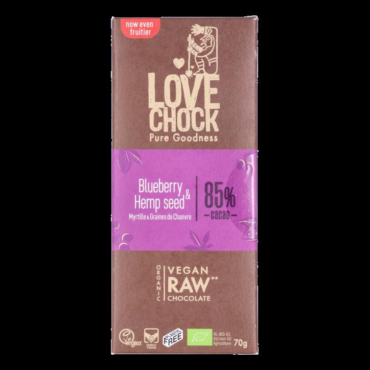 Lovechock Reep Raw Chocolate Blueberry & Hemp Seed Bio