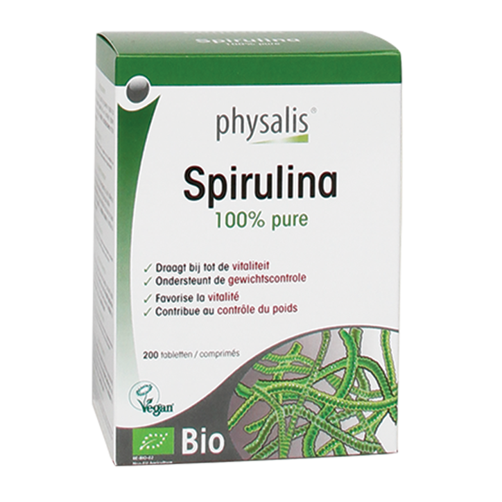 Physalis 100% Puur Spirulina Tabletten Bio (200 Tabletten)