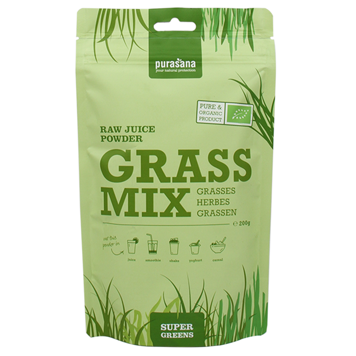 Purasana Raw Juice Poeder Grass Mix Bio (200gr)