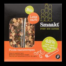 Smaakt Less Carb Pinda-Cashewrepen Bio (vervanger Atkins)