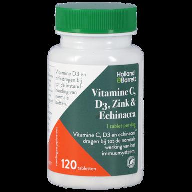 Holland & Barrett Vitamine C, D3, Zink en Echinacea (120 Tabletten)