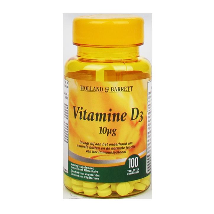 Holland & Barrett Vitamine D3, 10mcg (100 Tabletten)