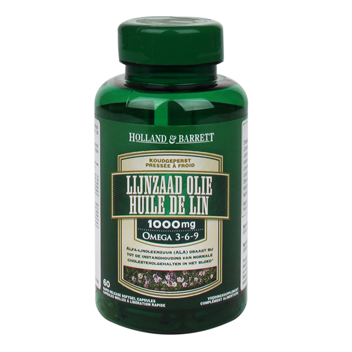 Holland & Barrett Lijnzaadolie, 1000mg (60 Capsules)