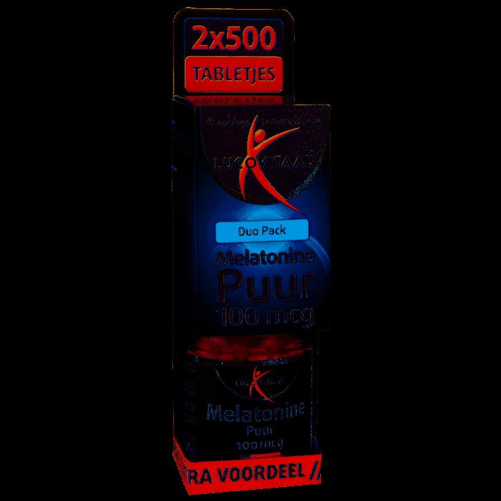 Lucovitaal Melatonine Puur Duo Pack, 100mcg (1000 Tabletten)