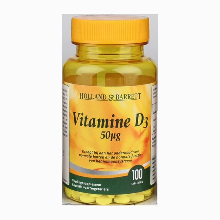 Holland & Barrett Vitamine D3, 50mcg (100 Tabletten)