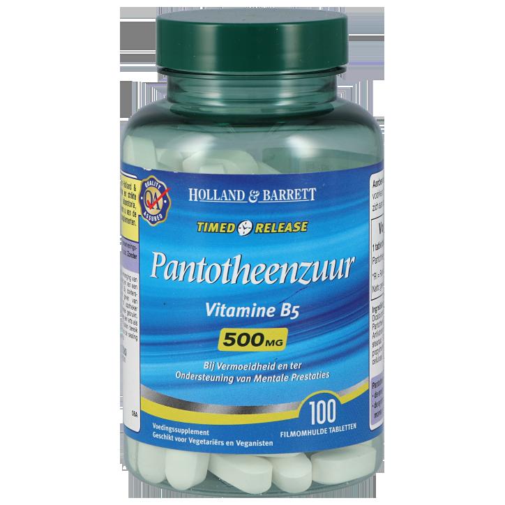 Holland & Barrett Pantotheenzuur, 500mg (100 Tabletten)