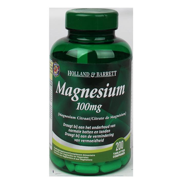 Holland & Barrett Magnesium Citraat, 100mg (200 Tabletten)