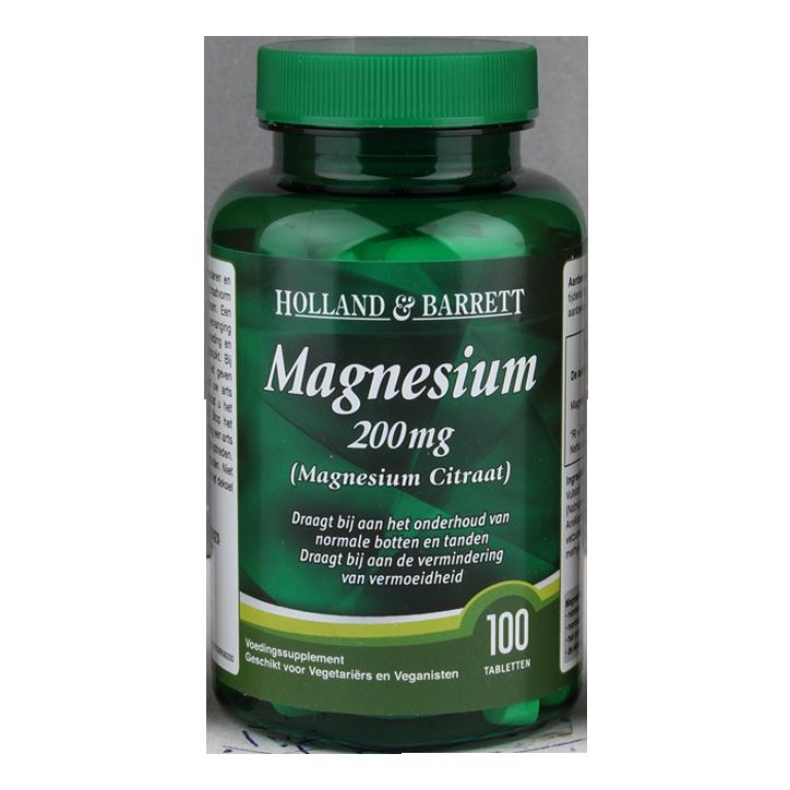 Holland & Barrett Magnesium Citraat, 200mg (100 Tabletten)