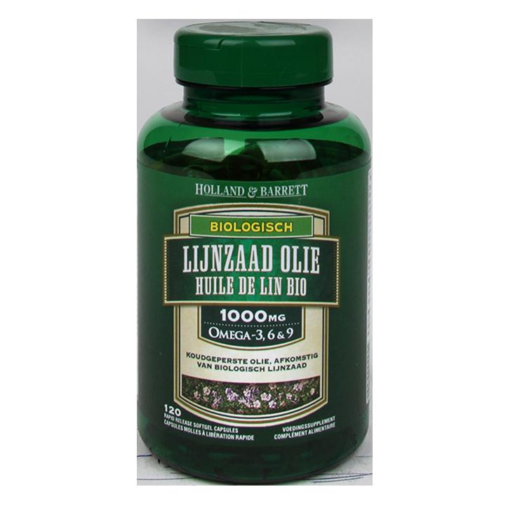 Holland & Barrett Lignane haute teneur et huile de lin bio 120 Gélules 1000 mg