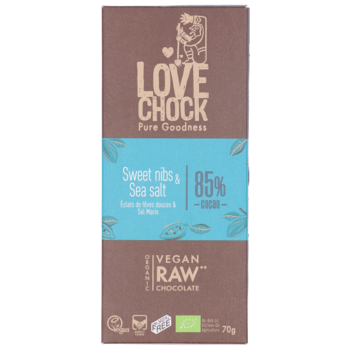Lovechock Reep Raw Chocolate Sweet Nibs & Sea Salt Bio