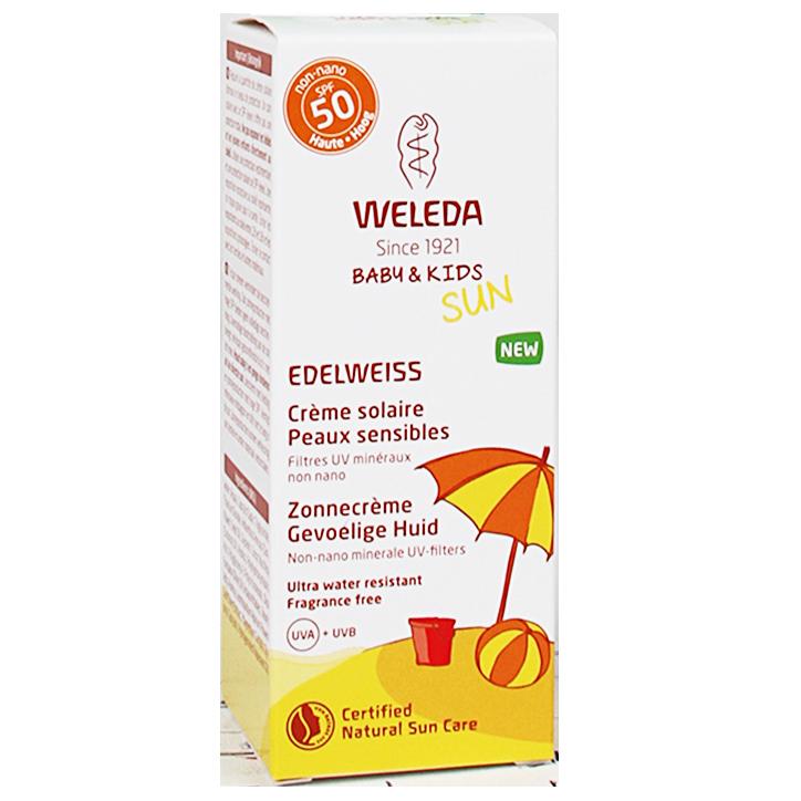 Weleda Edelweiss Zonnecreme Gevoelige Huid + Baby & Kids SPF50 (50ml)