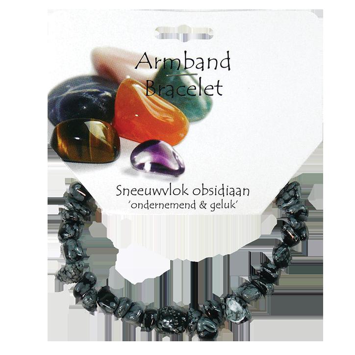 Steengoed Ronde Splitsteen Armband Obsidiaan Sneeuwvlok