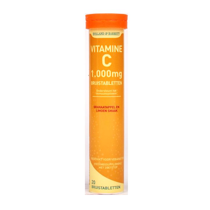 Holland & Barrett Vitamine C Bruistabletten Granaatappel Limoen (20 Tabletten)