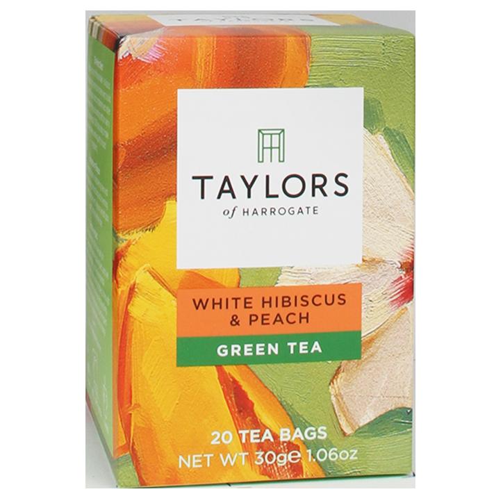 Taylors Of Harrogate White Hibiscus & Peach Green Tea (20 Theezakjes)