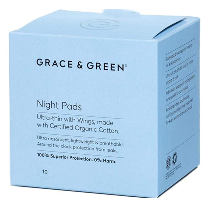 Grace & Green Night Pads Maandverband Met Vleugels Nacht (10 stuks)