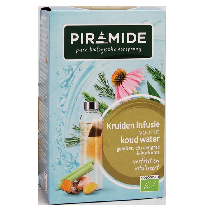 Piramide Kruideninfusie Voor In Koud Water Gember, Citroengras & Kurkuma Bio (10 Theezakjes)