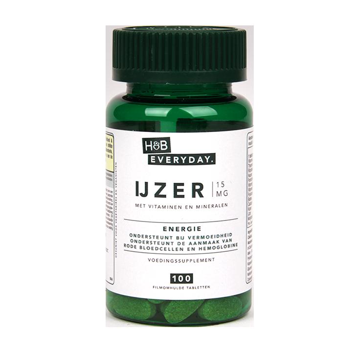 H&B Everyday IJzer met Vitamines & Mineralen, 15 mg (100 Tabletten)