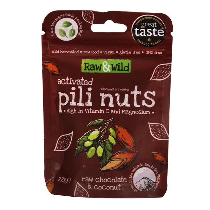 Raw & Wild Activated Pili Nuts Raw Chocolate & Coconut (22gr)