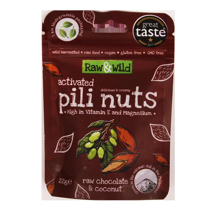 Raw & Wild Activated Pili Nuts chocolat cru et noix de coco (22 g)