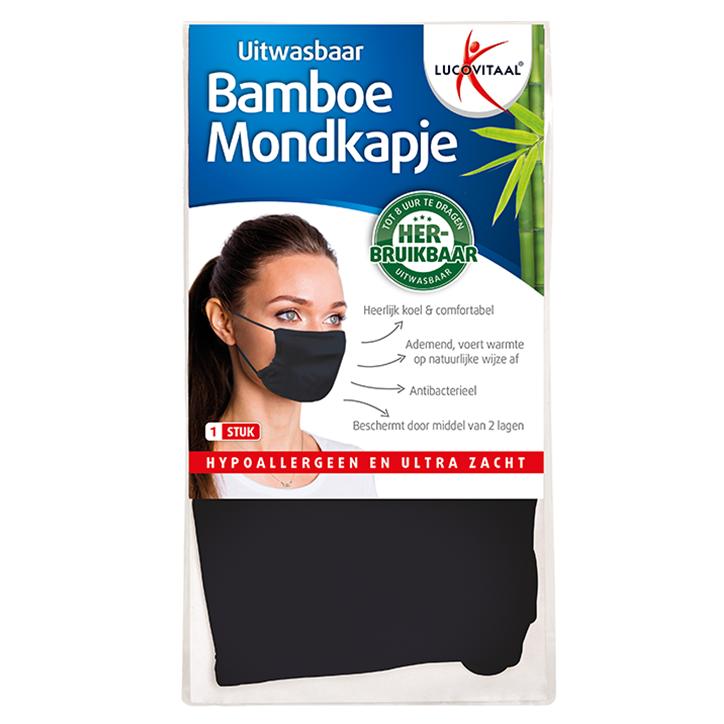 Lucovitaal Uitwasbaar Bamboe Mondkapje Donkerblauw