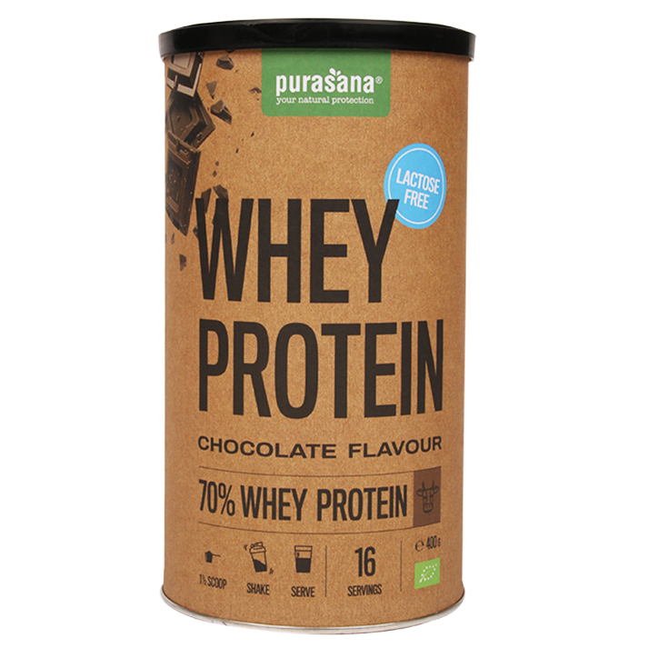 Purasana Whey Protein Chocolate Lactosevrij (400gr)