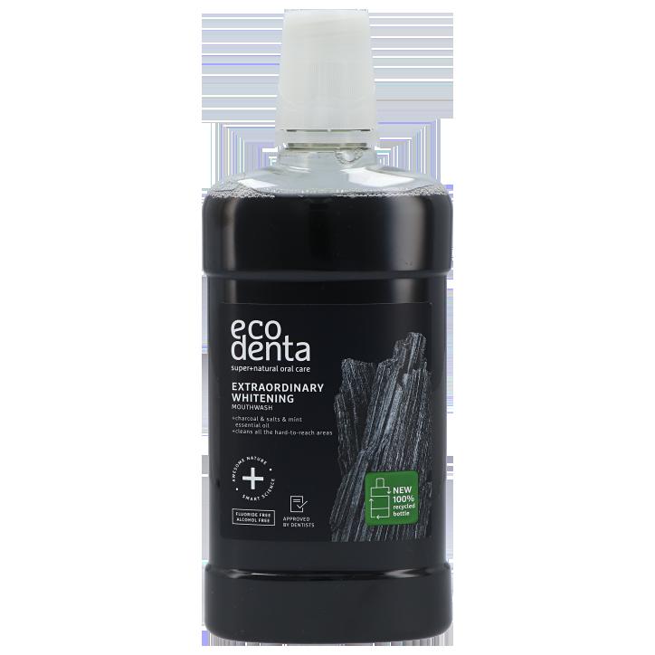 Ecodenta Bain de bouche Extra blanchissant au charbon de bois noir 500 ml
