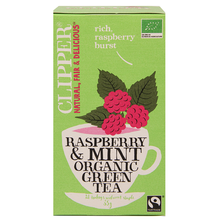 Clipper Raspberry & Mint Organic Green Tea (20 Theezakjes)