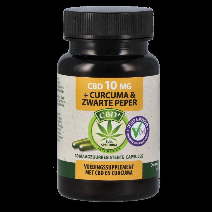 Jacob Hooy CBD capsules 10 mg + Curcuma & Zwarte Peper (30 capsules)